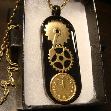 Clockwork Gears and Clock Steampunk Pendant Necklace- (1870)