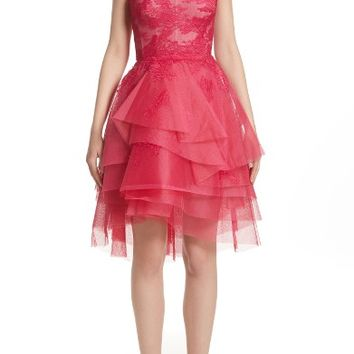Monique Lhuillier Tiered Chantilly Lace Dress | Nordstrom
