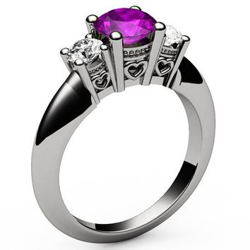 3 stone Filigree Amethyst Heart Engagement Ring 14K White gold Heart Milgrain Ring Promise Ring for Your Love One