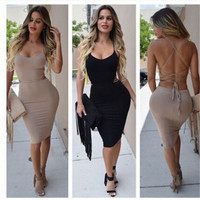 Sexy Women Low Cut  Package Hip Dress  Bodycon Bandage Backless Hot Dress Summer Sleeveless Clubwear Slim Night Party Mini Dress