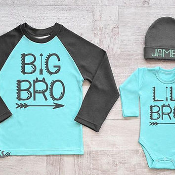 Big Bro Lil Bro Matching Shirts. Big Brother Outfit. Big Brother Raglan Shirt. Siblings Shirt. Little Brother Baby Bodysuit and Hat. Lil Bro
