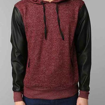 The Narrows Faux-Leather Sleeve Pullover Hooded Sweatshirt-