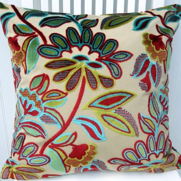 Velvet Decorative Pillow Cover--Contemporary Flowers --20 x 20   Red Turquoise and Lime.