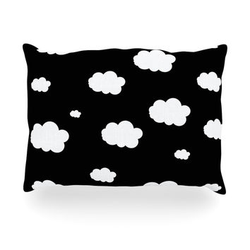 "Suzanne Carter ""Clouds"" Black White Oblong Pillow"