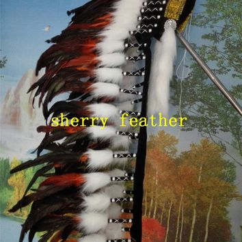 Orange indian feather headdress 36inch high chief indian headdress halloween costume party supply feather hat