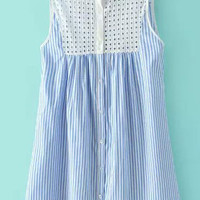Blue and White Sleeveless Grid Cut-Out Pinstripe Shift Dress