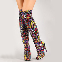2017 Elegant Multicolor Mixed Color Tribal Lace-Up Peep Toe Thigh High Boot High Heel Gladiator Boots Women Long Boots Sandals