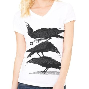 Council of Crows V-neck Tee - Ladies