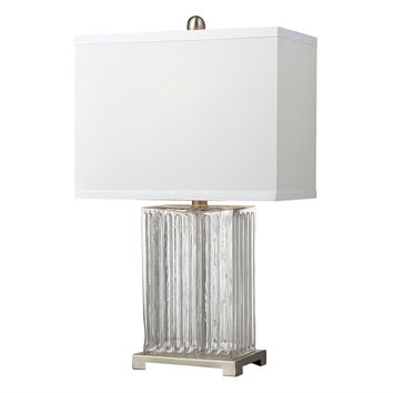 Modern Clear Glass Table Lamp with White Rectangular Fabric Shade