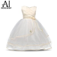 Flower Girl Dress For Wedding Pageant Prom Party White Dress Baby Kids Clothes Toddler Children Events Special Dresses Girl