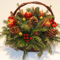10 in. Blue Ridge Harvest - Fresh Cut Evergreens Christmas Basket (Real, Live Fraser Fir)