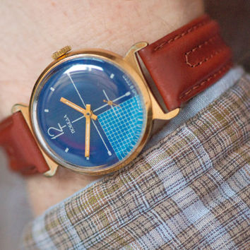 Gold plated men's watch Pobeda modern Soviet wrist watch marine blue checked face mens accesory watch