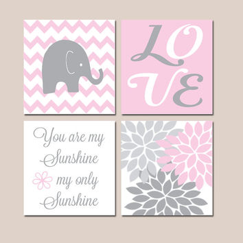 Pink Gray Nursery, Girl Elephant Nursery Wall Art, Baby Girl Nursery Decor, Girl Bedroom Pictures, Sunshine Quote, CANVAS or Prints Set of 4