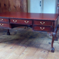 Vintage Chippendale Style Desk Beautiful Traditional or Steampunk Home Decor Furniture Antique Desk