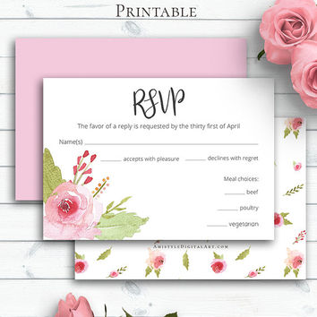 Blush Rose Wedding RSVP Card, Customized Response Card, Printable RSVP Template, RSVP Enclosure, Blush Wedding, Customize