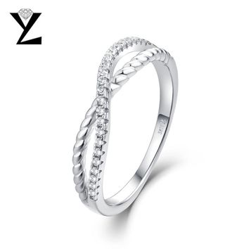 YL 925 Sterling Silver Infinity Wedding Engagement Rings for Women Fine Jewelry Ring Female Sterling Silver Jewelry