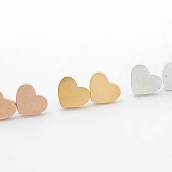 Brushed metal Heart Studs in 18k Gold, 925 Silver or Rose Gold Plated