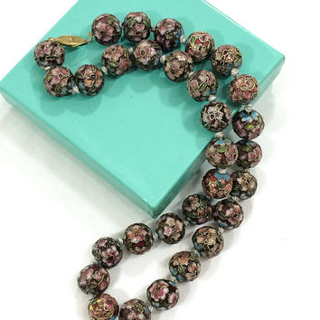 Chinese Cloisonne Necklace, Hand Knotted Beaded Necklace, Raised Wire Cloisonne, Shades of Pink & Blue, Goldtone Clasp, Vintage Jewelry