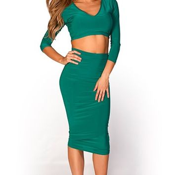 Jaid Emerald Green V Neck Long Sleeve Crop Top Two Piece Dress