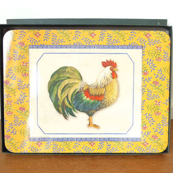 Six cork backed French country rooster, provencal placemats, Jason brand