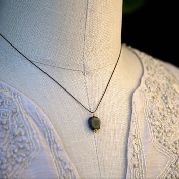 Watermelon Tourmaline Slice Pendant Necklace on Brown Silk Cord