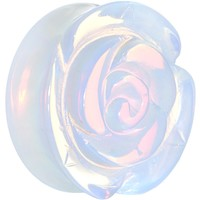 28mm Opalite Natural Stone Rose Double Flare Saddle Plug
