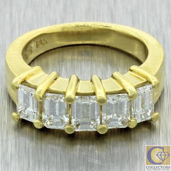 Vtg Estate 18k Yellow Gold 1.50ctw Emerald Cut Diamond Wide Wedding Band Ring