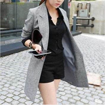 CREYET7 2016 Hot Selling  Spring Women Casual Long Thin Blazers Coats Notched Collar Full Sleeve Single Button Fashion Cardigans   Y99