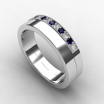 Blue sapphire ring, Diamond, Palladium, wedding band, mens ring, blue wedding, commitment, mens wedding ring, rings for men