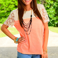 Doily Stripe Top, Orange/Beige