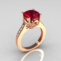 Classic 14K Rose Gold 30 Carat Burgundy Garnet by artmasters