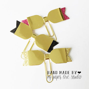 glitter & gold bow paper clips mini size : chic collection (3pcs/set)