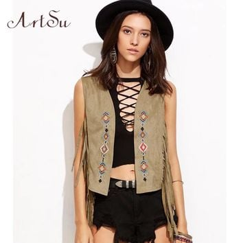 ArtSu Fashion Women Suede Leather Faux Fur Vest Jacket Lady Sleeveless Wasitcoat Vests Outwear Casual Colete Feminino ASVE20056