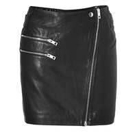 Rag & Bone - Leather Hudson Skirt in Black