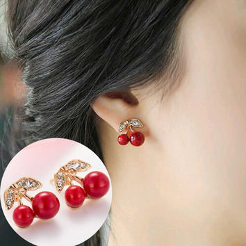 2016 New style simple Fashion Lovely big pearl Red cherry earrings rhinestone leaf bead stud earrings for woman jewelry
