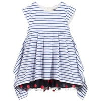 Junior Gaultier Girls Striped Blue & White Dress with Dotted Tulle Skirt