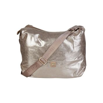 Women's Light Brown Metallic Vegan Laura Biagiotti Crossbody Messenger Bag/Handbag