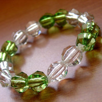 SALE-Green and White Crystal Bracelet