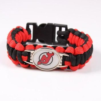 CHEN1ER New Jersey Devil Paracord Bracelet NHL Ice Hockey Team Sport Fans Friendship Outdoor C