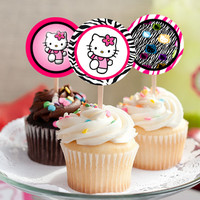 """Hello Kitty - Download 2.25"""" Cupcake Toppers, Printable Birthday Party Gift Tags, Toppers, Boy Girl Stickers, Gift Tags"""