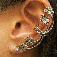 Chic Rhinestone Flower Ear Cuff For Women(Piece)