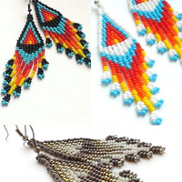 Native Beaded Earrings-Seed Bead Earrings With Fringe-American Style Beadwoven Earrings-Traditional Folk Earrings-Low Cost Earrings