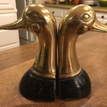 """Vintage Set of Brass Black Trim Duck Head Bookends 6"""" tall"""