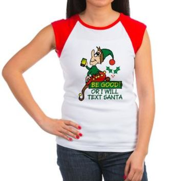 Be Good Says Christmas Women's Cap Sleeve T-Shirt> Be Good Says Christmas Elf> Irony Design Fun Shop - Humorous & Funny T-Shirts,
