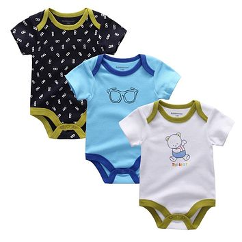 New 2018 Brand Baby Bodysuits Spring summer Babies Newborn Cotton Body Baby short Sleeve Infant Bebe Boy & Girl Clothes set