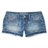 Aeropostale  Womens Flag Medium Wash Denim Shorty Shorts