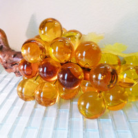 Vintage Giant Lucite Grapes Table Display INCREDIBLE Amber Gold Yellow on Driftwood Plastic Leaves Vine Globe Sphere