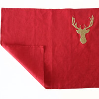 Placemats in Red Linen with Gold Deer Embroidery - Set of 4 Stag Place Mats - Table Linen - Christmas Gifts  Thanksgiving Wedding Valentines