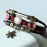 Hand-woven fashion brown genuine leather bracelet with multiple beads BY38