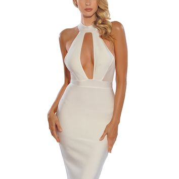 Karley White Mesh Cut Out Keyhole Detail Bandage Dress
